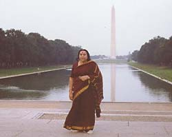Shri Mataji at the Washington Monument